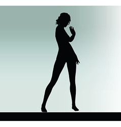 Woman silhouette with hand gesture greet vector