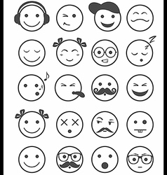 Icons set 20 emotional and kids smiles black and vector