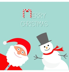 Cartoon snowman and santa claus blue background vector