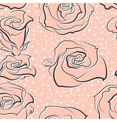 Pattern with hand-sketched roses vector