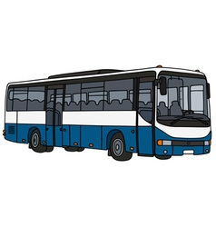 Blue and white bus vector