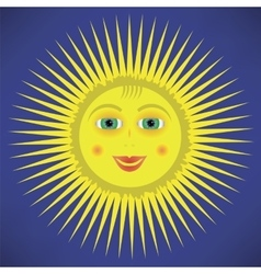Yellow cartoon sun icon vector