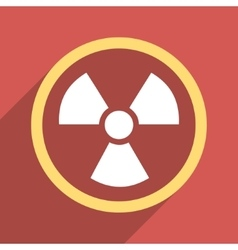 Radiation danger flat longshadow square icon vector