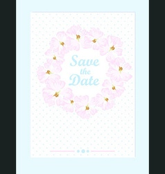 Wedding card with pastel pink roses vector