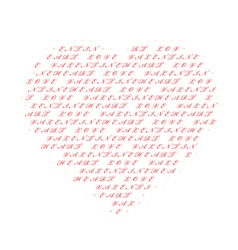 heart made of text vector image