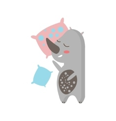 Rhino sleeping in bed vector