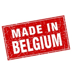 Belgium red square grunge made in stamp vector