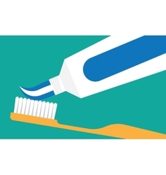 Extrude toothpaste from tube on toothbrush vector