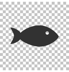 Fish sign  dark gray icon on vector