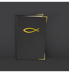 Standing black bible with golden symbol of vector