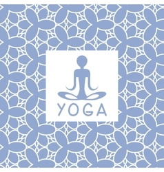 Abstact person blue yoga studio design card vector