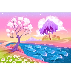 Astral landscape with trees and river vector
