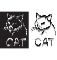 Cat outline from parts vector