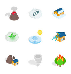 Catastrophe icons isometric 3d style vector