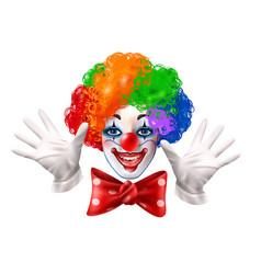 Circus clown face colorful realistic portrait vector