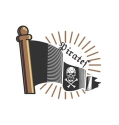 Color vintage pirate emblem vector image
