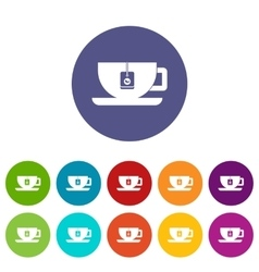 Cup of tea with tea bag set icons vector image vector image