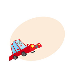 cute and funny red car auto character happy and vector image vector image