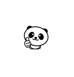 cute panda asian bear showing like thumb of hand vector image