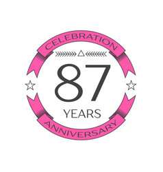 Eighty seven years anniversary celebration logo vector