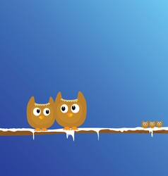 Funny animal on the snow branch art vector
