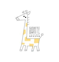 giraffe logo original design funny animal badge vector image