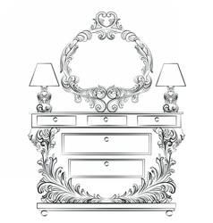 Glamorous Fabulous Baroque Rococo Console Table vector image