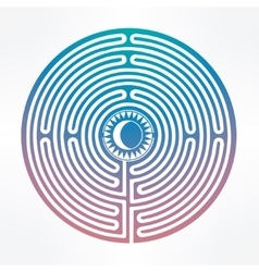 Hand drawn maze labyrinth with sun in it vector