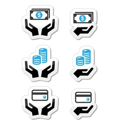 Hands with money coins icons set vector image