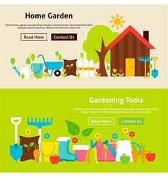 Home Gardening Tools Flat Website Banners Set vector image