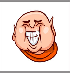 Joyful buddha face with a big open grinning mouth vector