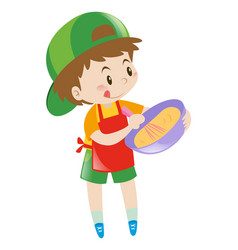little boy beating flour in bowl vector image
