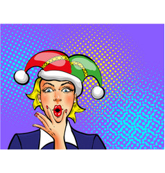 Pop art april fools day woman in jester hat vector