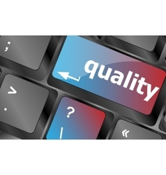 quality button on computer keyboard showing vector image vector image