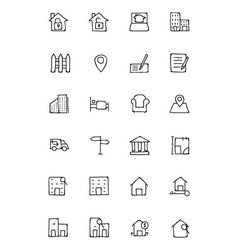 Real estate hand drawn doodle icons 2 vector