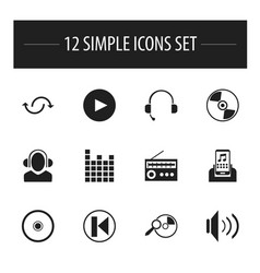 Set of 12 editable sound icons includes symbols vector