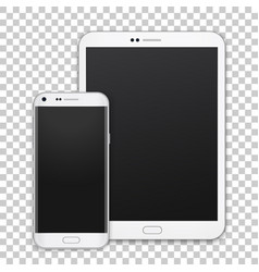 set of realistic tablet and mobile phone with vector image