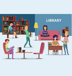 students in library peoples reading books vector image