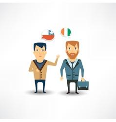 Translator talk with foreigner vector