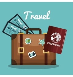 Travel suitcase passport tickets vacation design vector