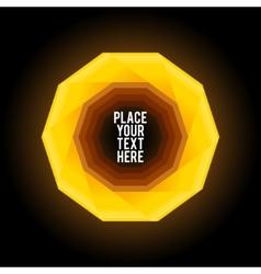 Yellow decagon shape on dark background vector image vector image