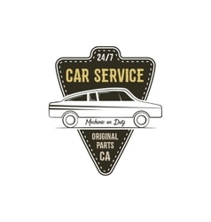 Car service label vintage tee design graphics vector