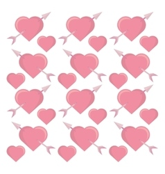 pink hearts arrows seamless pattern design vector image