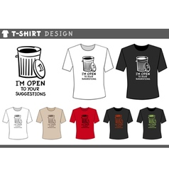 t shirt design with trash can vector image