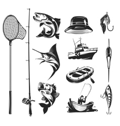Set icons on the theme of fishing vector image