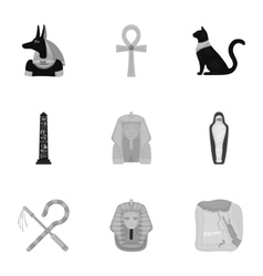 Ancient egypt set icons in monochrome style big vector