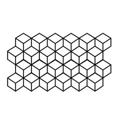 monochrome contour line with hexagon pattern vector image