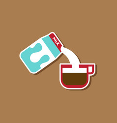 paper sticker on stylish background coffee carton vector image