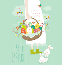 Girl holding basket with easter eggs vector