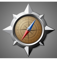 Steel compass with scale vector